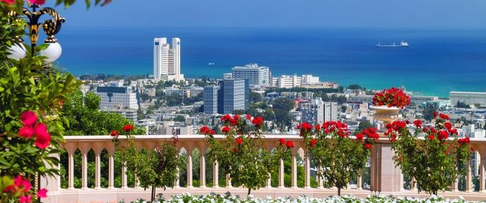 Haifa Bay from the Bahá'í Gardens. Photo by Shutterstock.com.