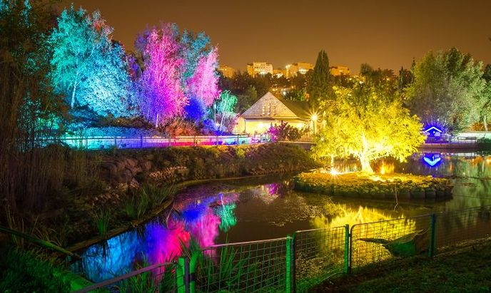 The Jerusalem Botanical Gardens all decked out for Hamshushalayim.