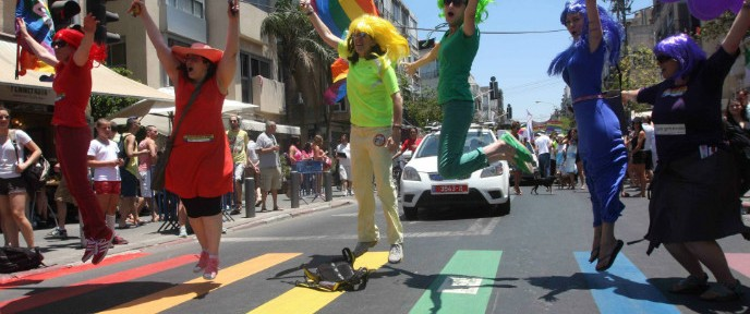 Scene from a Tel Aviv gay pride parade by Roni Schutzer/FLASH90.