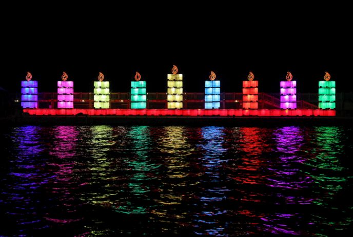 The world's largest menorah (ḥanukkiyah), created by the Israel Electric Company, lit up Tel Aviv Port last Hanukkah. Photo by Gideon Markowicz/FLASH90