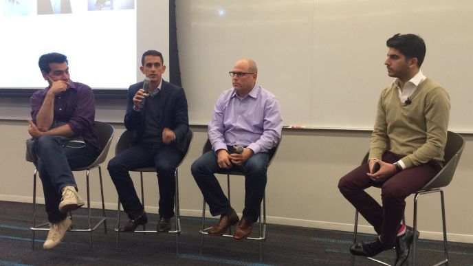 """""""How to Build a $100 Million Business"""" panelists included, from left, Zvika Netter, Assaf Henkin, Gil Dudkiewicz and Lior Vaknin."""