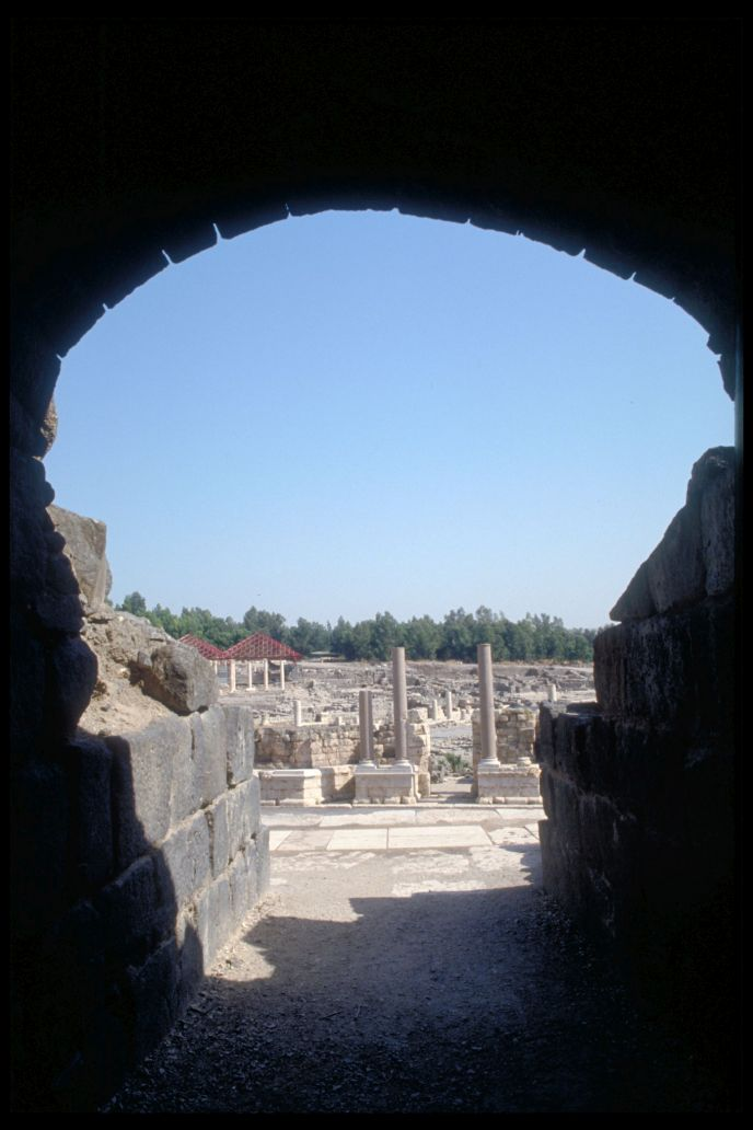 Beit She'an National Park viewed through the Roman theater ruins. (Israel Tourism Ministry)