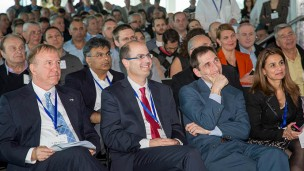 (From Left) Limor Nakar-Vincent, Director, US Business Development & BIRD Energy, BIRD Foundation; Dr. Jonathan Margolis, Deputy Assistant Secretary for Science, Space, and Health, State Department; Avi Hasson, Chief Scientist, Israel Ministry of Economy; and Dr. Eitan Yudilevich, Executive Director, BIRD Foundation at the recent BIRD conference. (Photo: Zvika Goldstein)