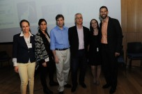 Tal Givoly, Medivizor's Co-Founder and CEO (blue shirt) is flanked by mHealth Israel organizers.