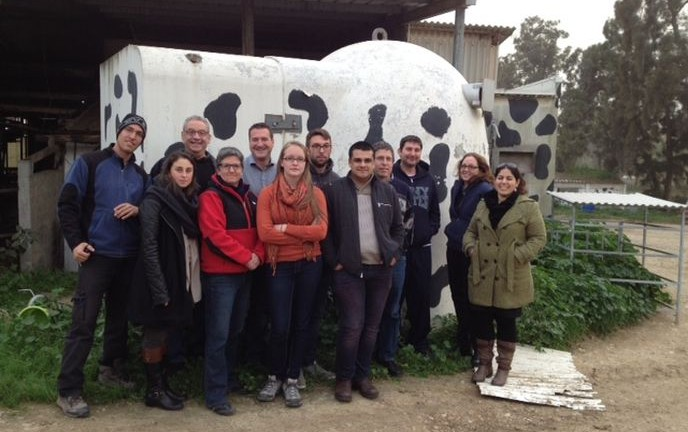 SUNY-New Paltz and Ben-Gurion University graduate students at Kibbutz Sa'ad, near the Gaza Strip, where the bomb shelter near the cowshed is painted in a cow theme.