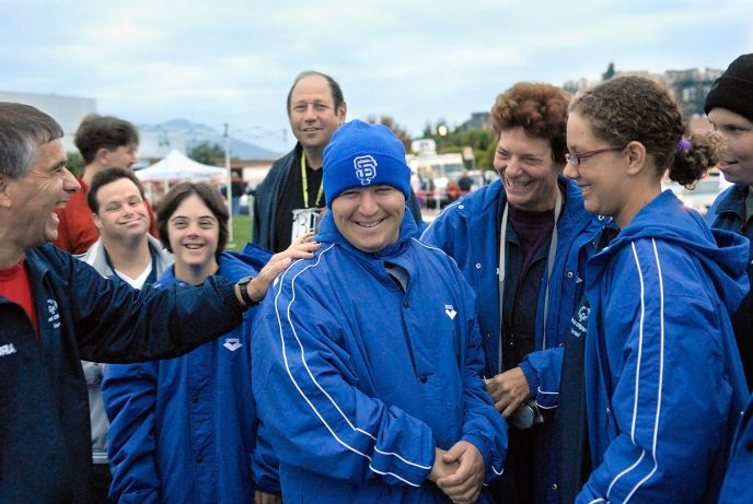 In 2006, nine Israeli Special Olympians went to San Francisco to compete in the RCP Tiburon Mile, an open-water endurance race.From left, coach Ishai Adler, Gil Kataloni, Shahar Gidalizon, the father of athlete Guy Wartikovsky, Andelo Wartikovsky, Mati Oren, coach Judy Ziv, Ella Zohar and Gilad Kalishov.