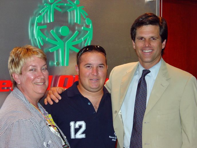 Mati Oren and his mother, Vicki, in Shanghai with Tim Shriver, chairman of the board of Special Olympics International.
