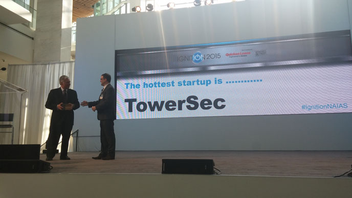 """TowerSec named the """"Hottest Startup in 2015"""" at the North American International Auto Show."""