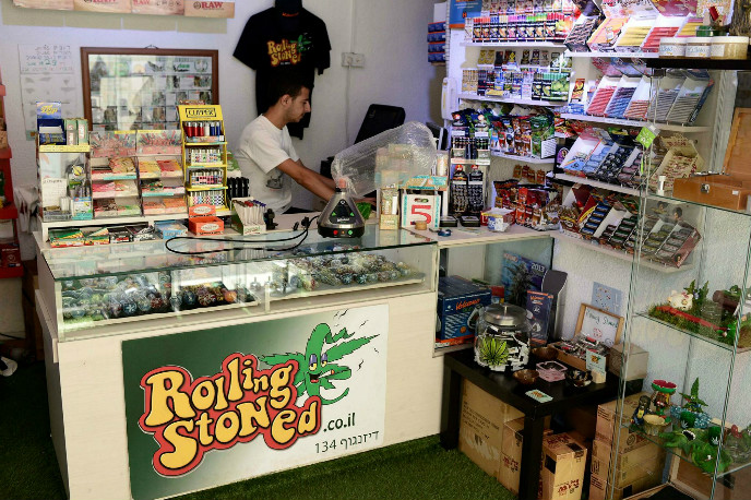 Photo from a cannabis shop in Tel Aviv by Tomer Neuberg/FLASH90.