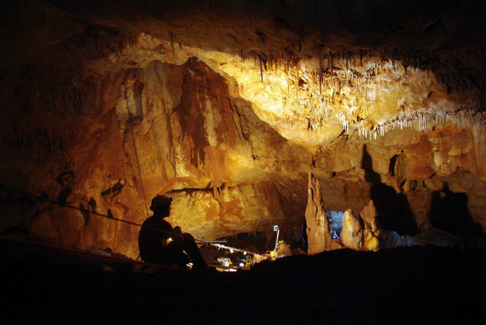 Inside the Manot Cave in Israel's Galilee, where a 55,000-year-old skull sheds new light on human migration patterns. (Photo: Prof. Amos Frumkin/Hebrew University Cave Research Center)