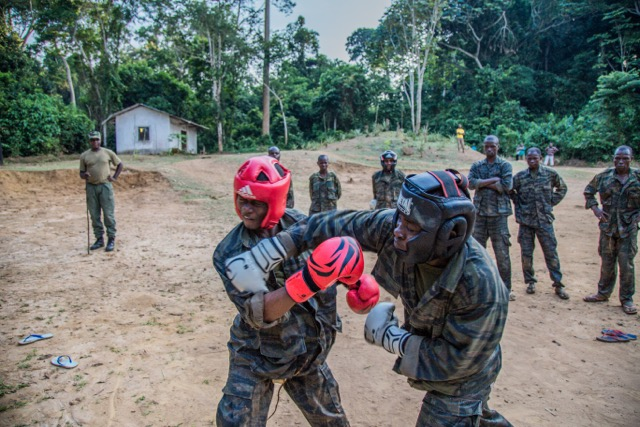 Maisha trained Congolese rangers in non-lethal combat in December 2014. Photo by Remi Pognante/Maisha