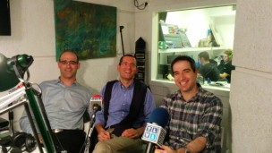 In the TLV1 studio, from left, Gadi Levin of LabStyle, Nadav Kidron of Oramed and Yishai Knobel of Helparound.