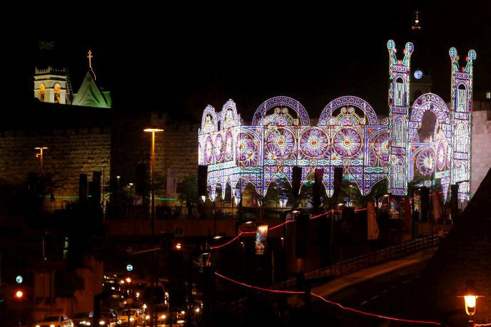 An installation at Jaffa Gate lights up the Jerusalem night, as part of the Jerusalem Light Festival.