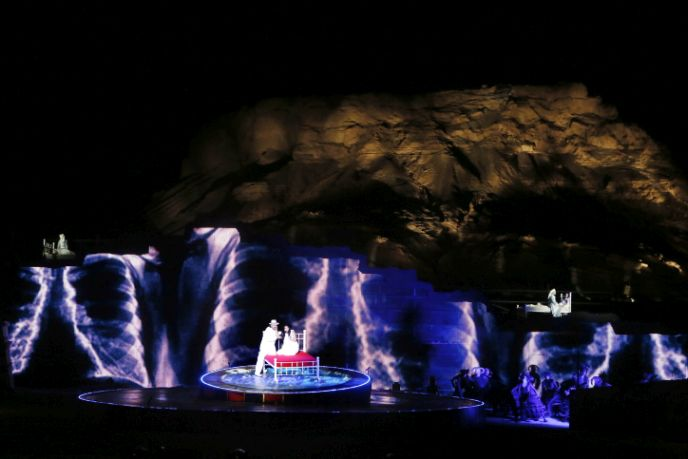 In 2014, more than 50,000 people attended a performance of Verdi's La Traviata, at Masada. Photo by Miriam Alster/FLASH90