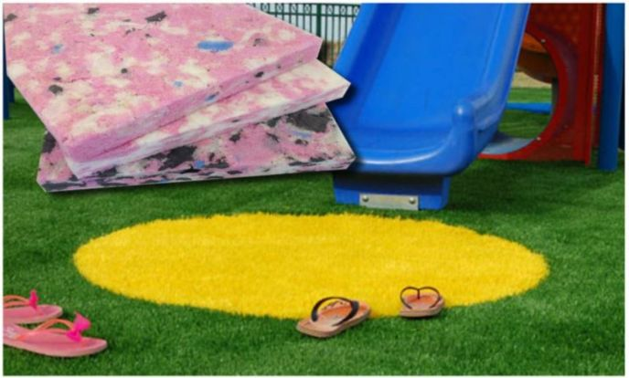 Shock Pad goes underneath play surfaces.