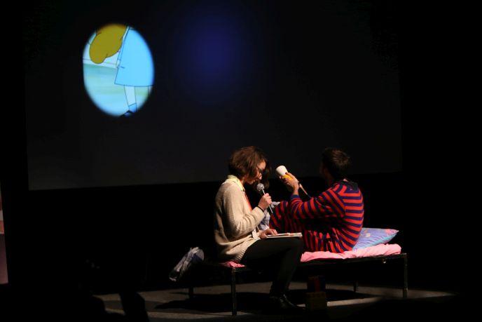 LUMI presenters show how their device could modernize storytime. (Photo: Maxim Golovanov)