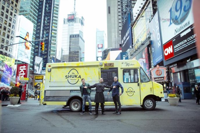 The Shuka Team in Times Square, from left: Solomon Taraboulsi, Gabriel Israel and Josh Sharon.