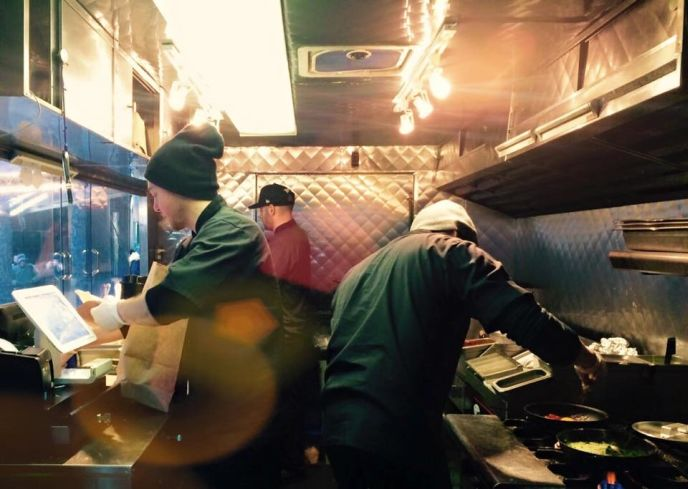 Customers can watch their meal being prepared inside the truck.