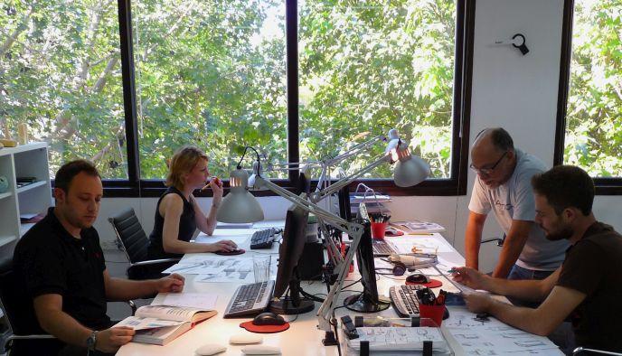 Taga team members at work in Tel Aviv.