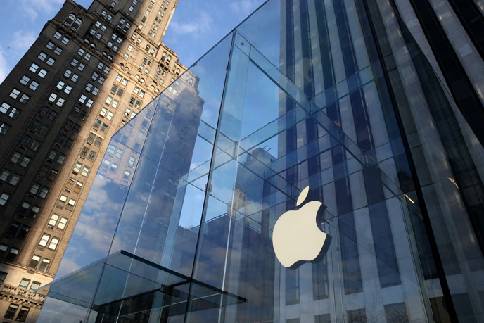 View of the 'Apple Store', in Manhattan. (Photo by Nati Shohat/FLASH90)