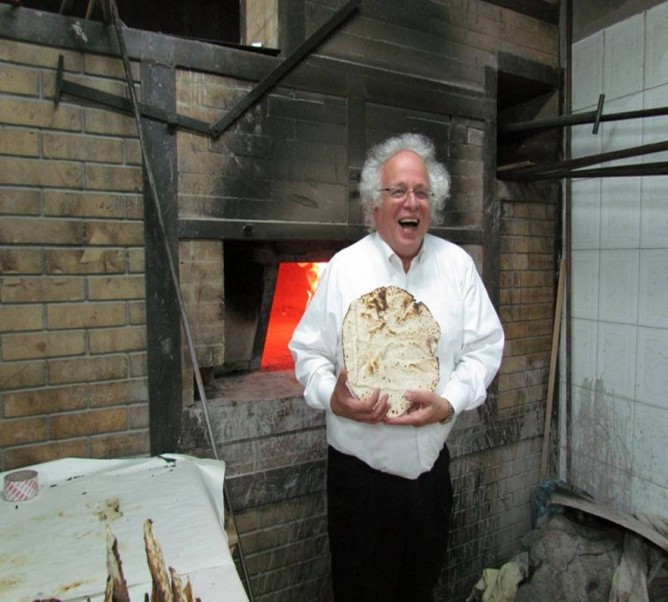 Sandy Colb with his handmade matzah.