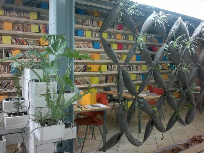 The Book Station with its experimental mashrabiya.