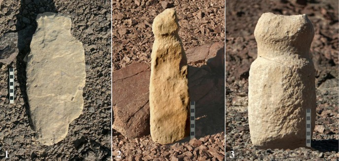 Human-like stone carvings found at the 100 cult sites near Eilat. (Photo: Uzi Avner)