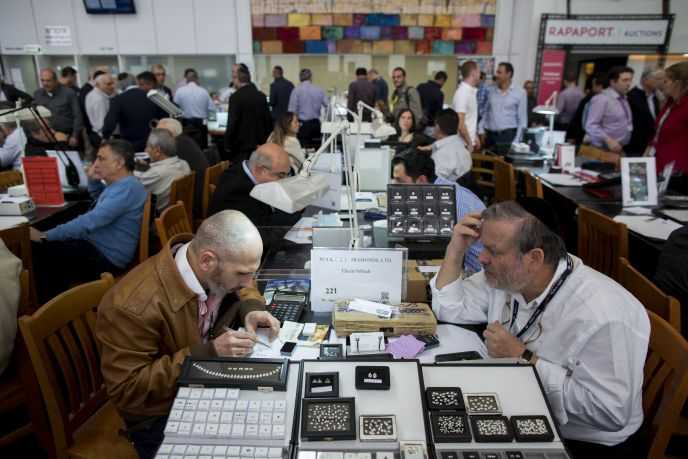 The trading floor at the Ramat Gan Bourse during International Diamond Week, February 2015. Photo by Yonatan Sindel/FLASH90