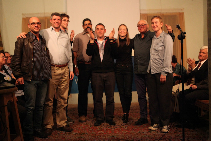 The Flux team, from left, Dr. Noam Chechanovsky, Nir Hertzman, Joe Snow, Amichai Yifrach, Tal Catran, Canna Tech organizer and Flux CEO Karin Kloosterman, Meir Bareli, Mor Bareli. (Photo: Dana Meirson)