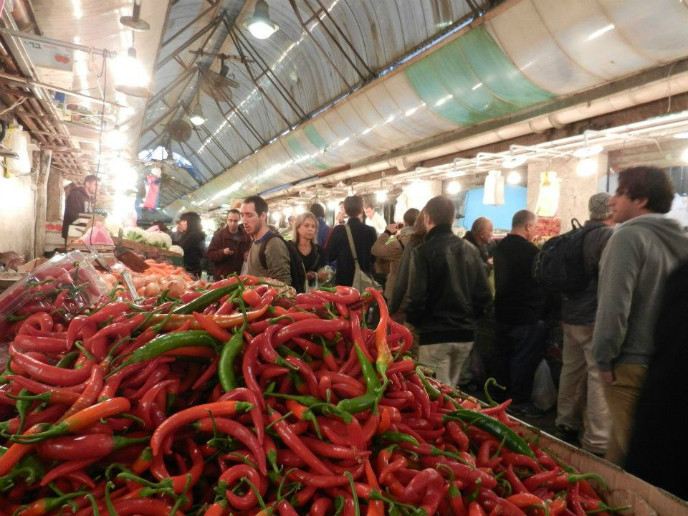 Produce is fresh and abundant in the Shuk.