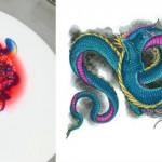 Here's how Chef Lachnish uses the dragon tattoo to enliven a dessert plate.