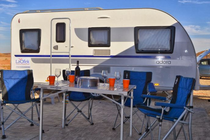 Camping out in Israel with a caravan.