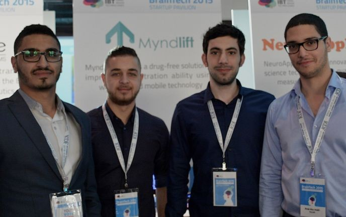 The Myndlift team, from left: CEO Aziz Kaddan, customer relations specialist Amr Khalaily, lead developer Hilal Diab and CTO Anas Abu Mukh.