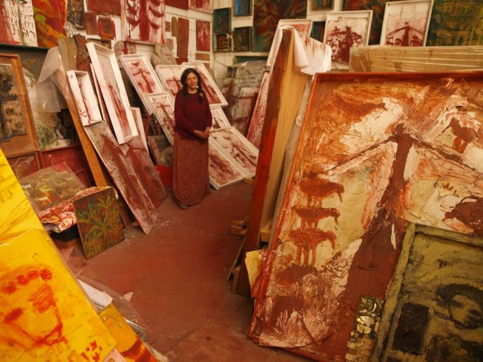 Arad artist Dorit Ruth Yaacobi in her gallery. Photo: Tal Glick