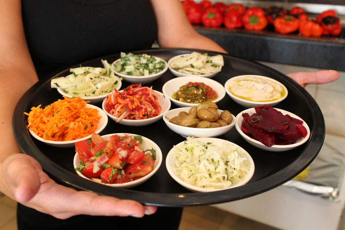 Salads make up a considerable part of the Israeli diet. (Photo by Nati Shohat/Flash90)