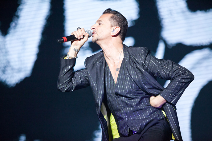 Singer of British electronic band Depeche Mode, Dave Gahan, performs in Tel Aviv on May 7, 2013. (Photo by Avihai Levy/Flash90)