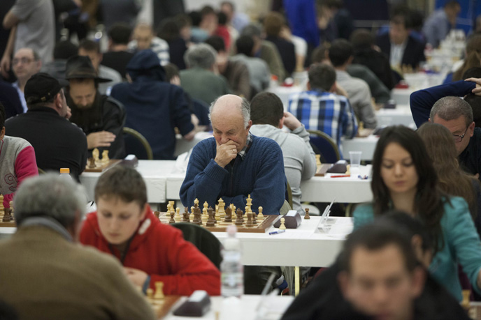 Chess players in action at the European Individual Chess Championship in Jerusalem. (Photo by Yonatan Sindel/Flash90)