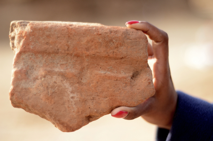 A Fragment of a basin used by the ancient Egyptians to produce beer. (Photo: Yoli Shwartz, courtesy of the Israel Antiquities Authority).