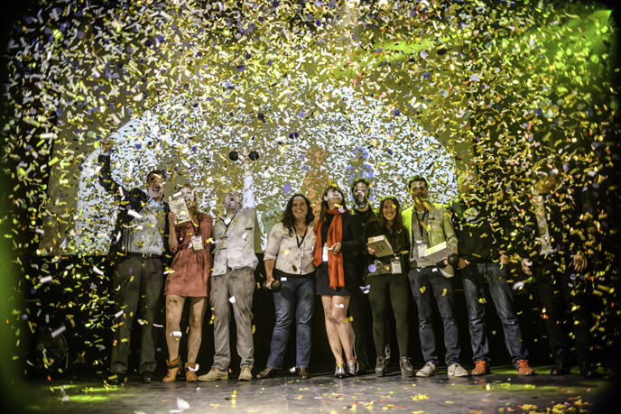 Fansino celebrates its win for Best App Award at the Mobile Premier Awards in Barcelona. (mobilepremierawards.com)