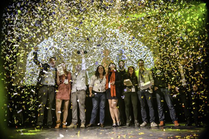 Fansino celebrates its win for Best App Award at the Mobile Premier Awards in Barcelona. (mobilepremierawards.com)