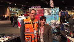 ISRAEL21c President Amy Friedkin with Eli Beer, founder of United Hatzalah, at the AIPAC conference in Washington.