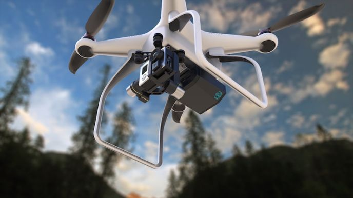 Percepto demonstrating its computer-vision add-on attached to a Phantom drone. (Photo: Maxim Golovanov)