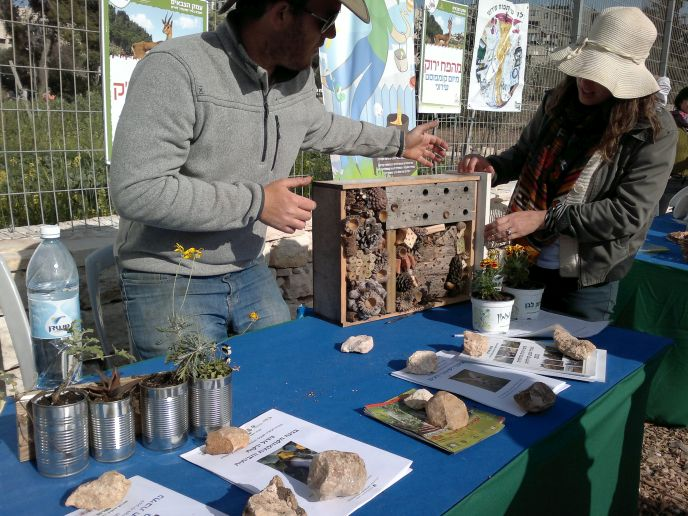 Visitors picked up pointers about urban gardening at Gazelle Valley's opening day. (Photo: Abigail Klein Leichman)