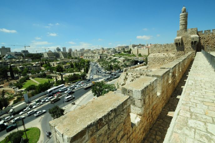 The ramparts walk begins at the Tower of David. Photo by Mendy Hechtman/FLASH90