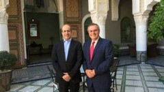 EMUF University President Prof. Mostapha Bousmina, left, with the Galilee Institute's President Joseph Shevel.