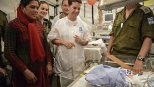 This baby boy was delivered yesterday by the IDF medical delegation. Photo by IDF Spokesman's Office