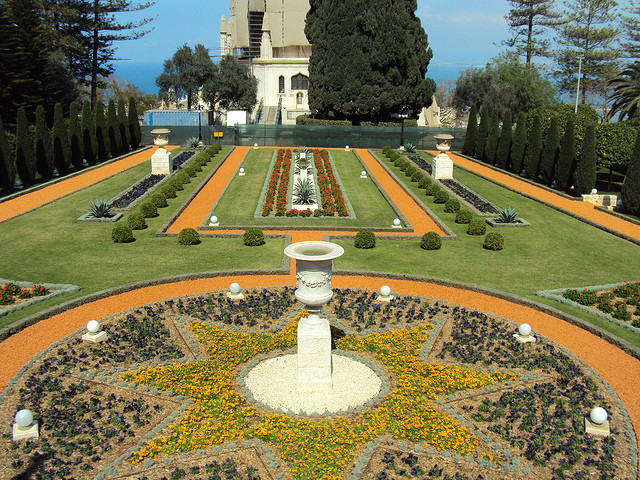 The Haifa Bahá'í Gardens feature 19 landscaped terraces.