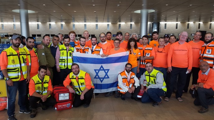 The first half of the joint IsraeLife delegation heading to Nepal from Tel Aviv, April 27. Photo courtesy of IsraeLife Foundation