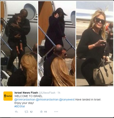 Israel News Flash posted Twitter feed welcoming the Kardashians.