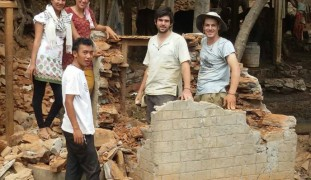 Tevel building latrines for Nepali villagers.